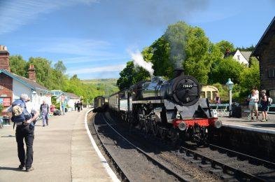 Coast to Coast path: Steam Train arriving at Grosmont Station on the North York Moor Railways