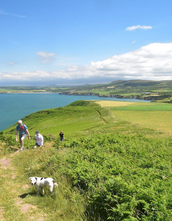 Hikers tackle the Pembrokeshire Coast Path with sea in background