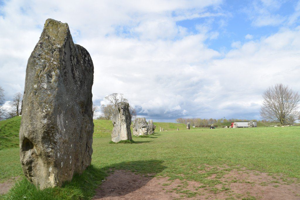 Standing stones, part of the prehistoric stone circle at Avebury, at the start of the Ridgeway.