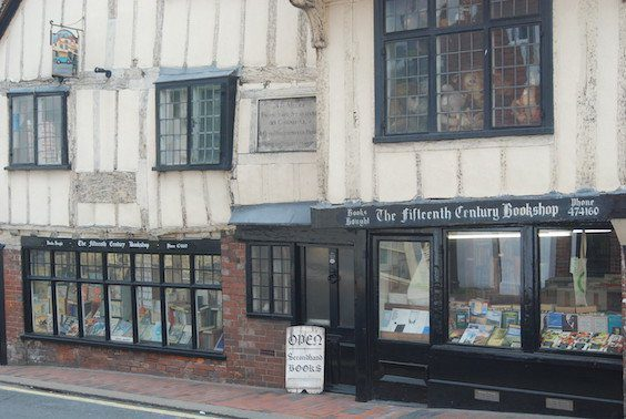South Downs Way: 15-century bookshop in Lewes, with black-painted windows and timber-frame structure