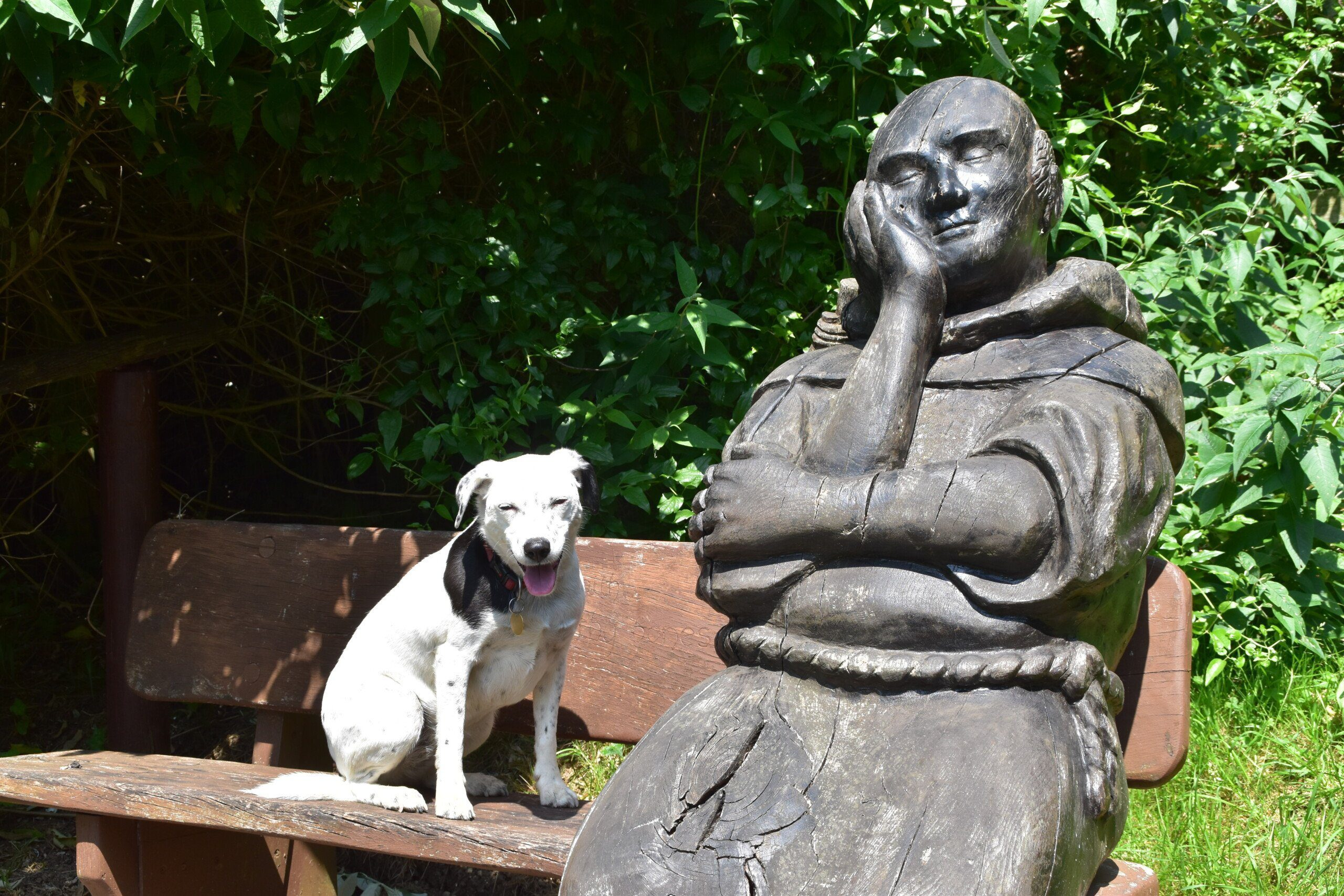 Daisy by pilgrim statue seated on a bench between Hollingbourne & Wye