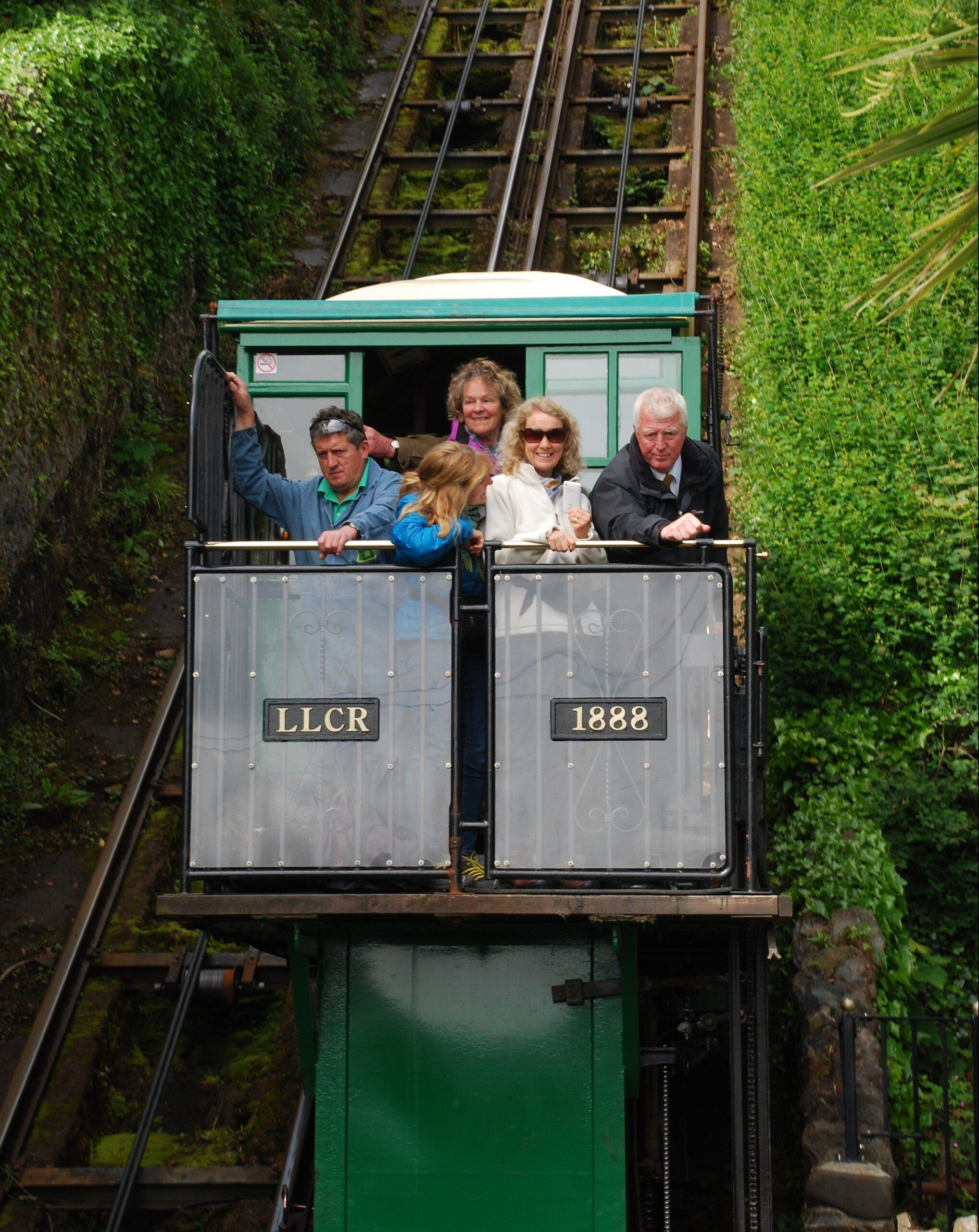 Taking passengers between Lynton and Lynmouth on the Cliff Railway