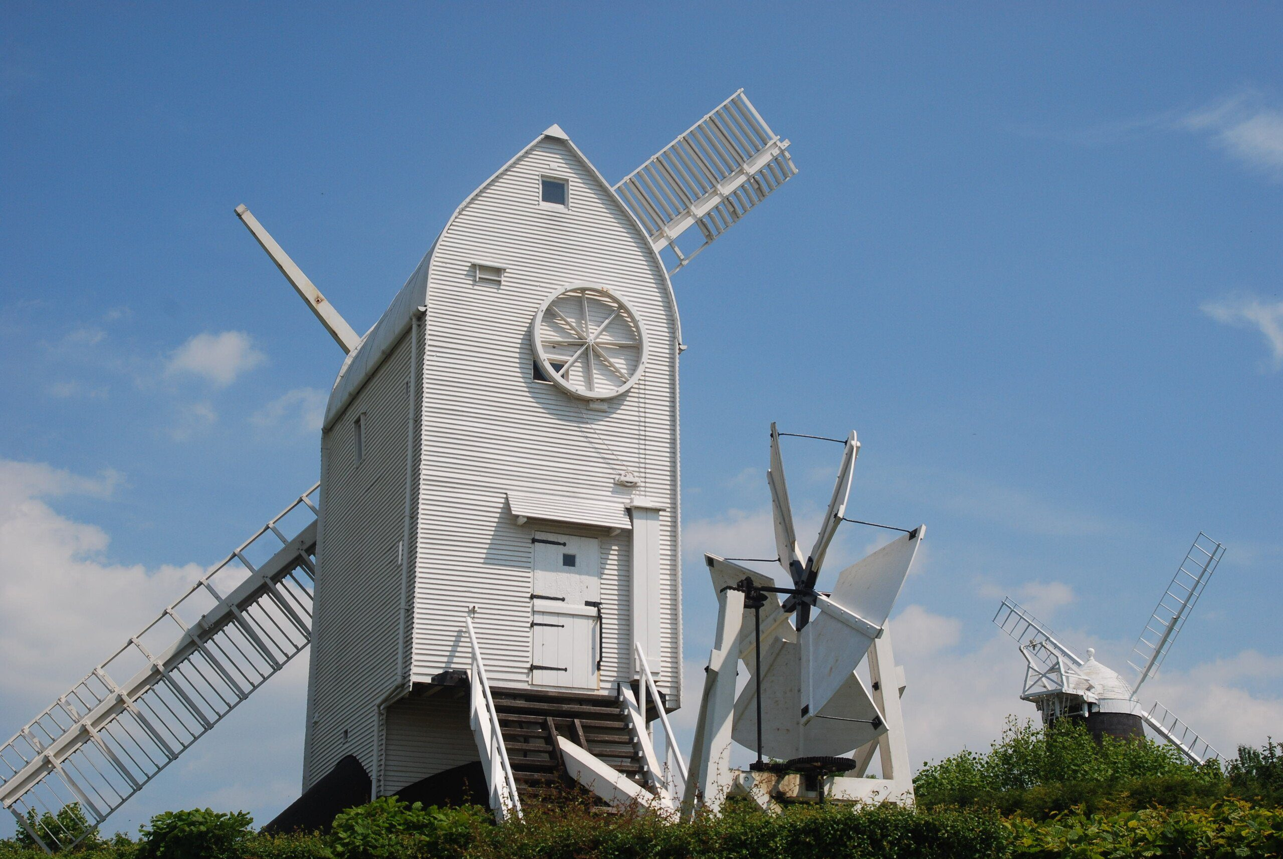 South Downs Way: Jack & Jill windmills, with white-painted clapboard Jill in the foreground