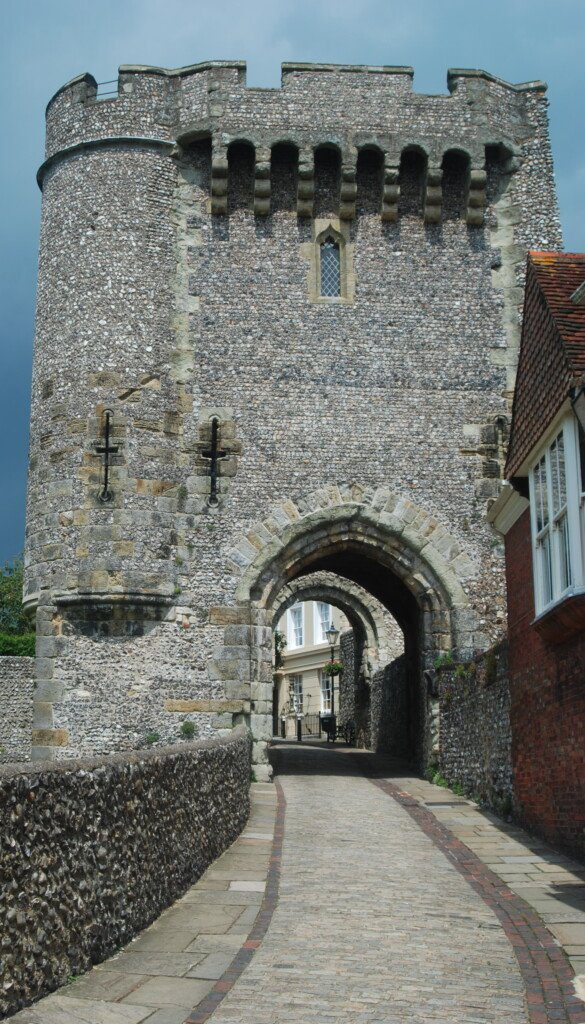 Medieval, crenellated stone entrance to the town of Lewes