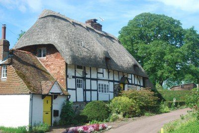 Thatched timber-framed cottages at East Meon