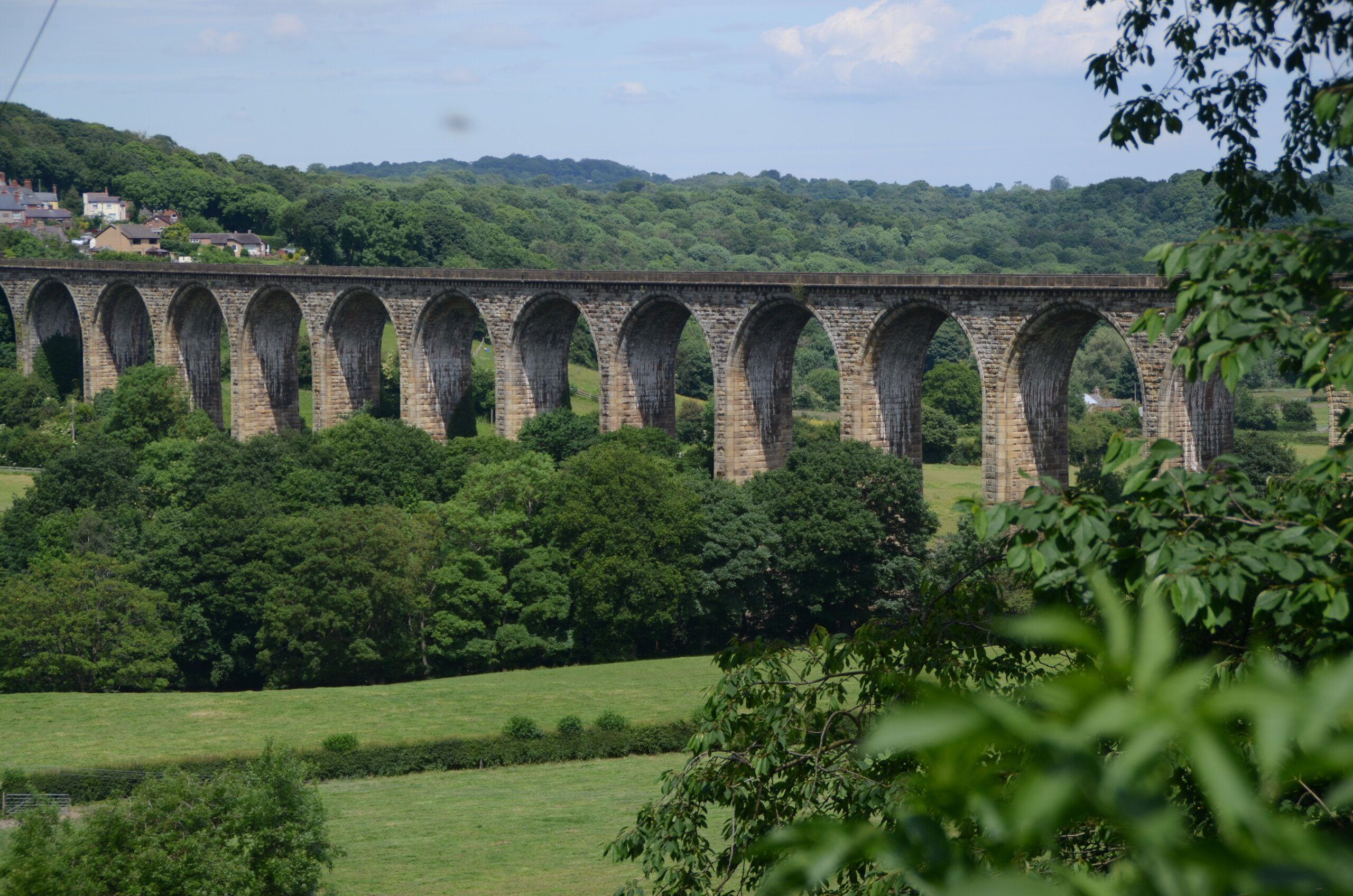 The spectacular Pontcysyllite Aqueduct rising high above the trees.