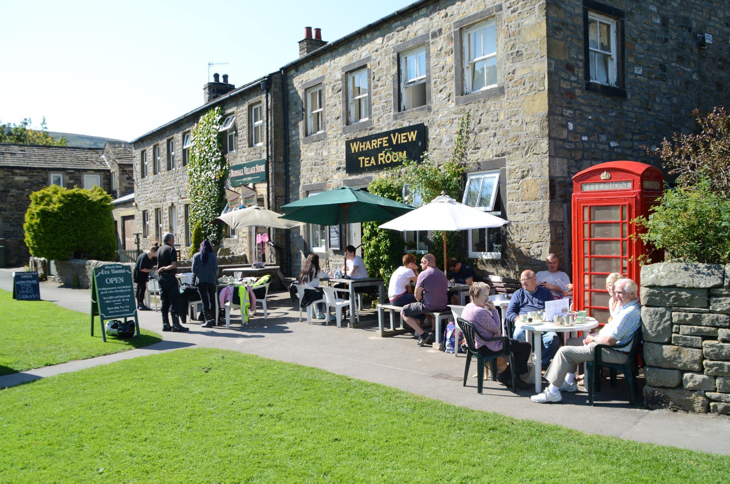 Busy tea rooms at Burnsall in Wharfedale, right on the Dales Way