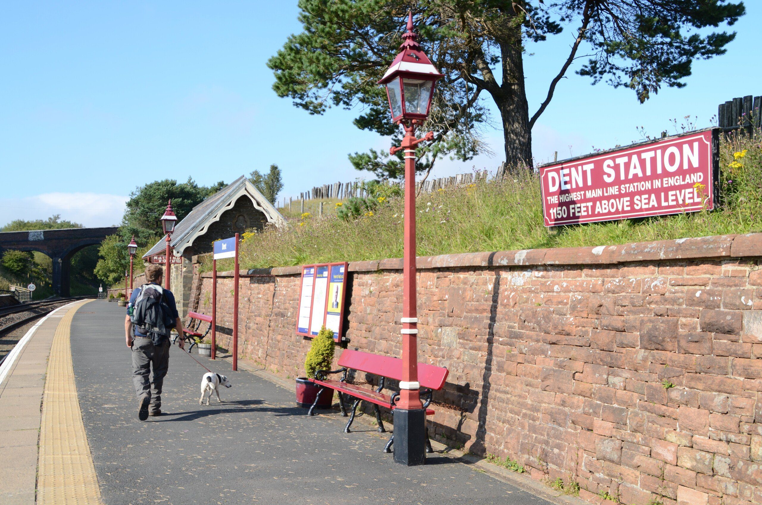 Platform of Dent Station, near the Dales Way, the highest main line station in England.