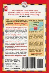 Back cover of Trailblazer's North Downs Way book