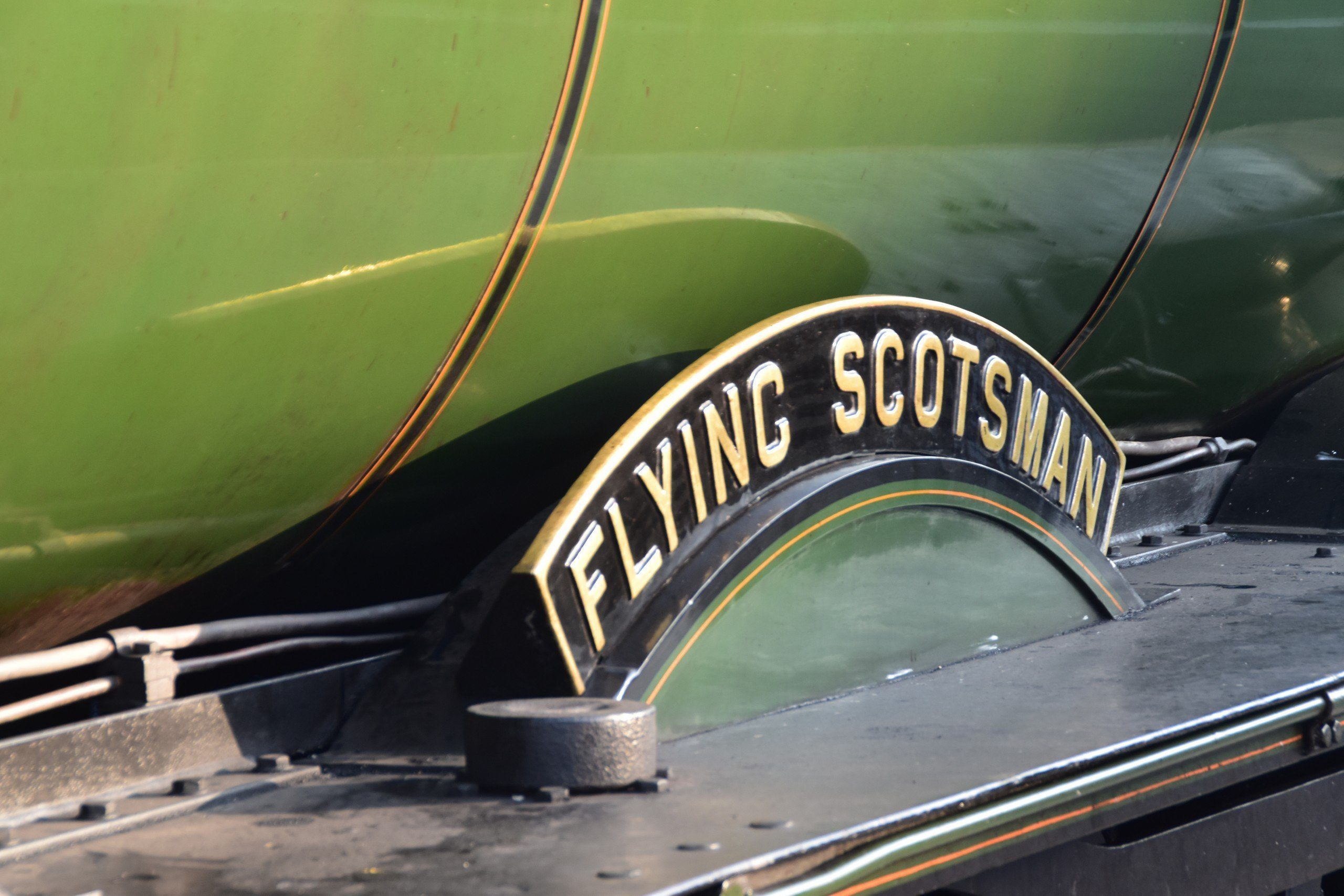 Nameplate of Flying Scotsman, as seen at Scarborough Station