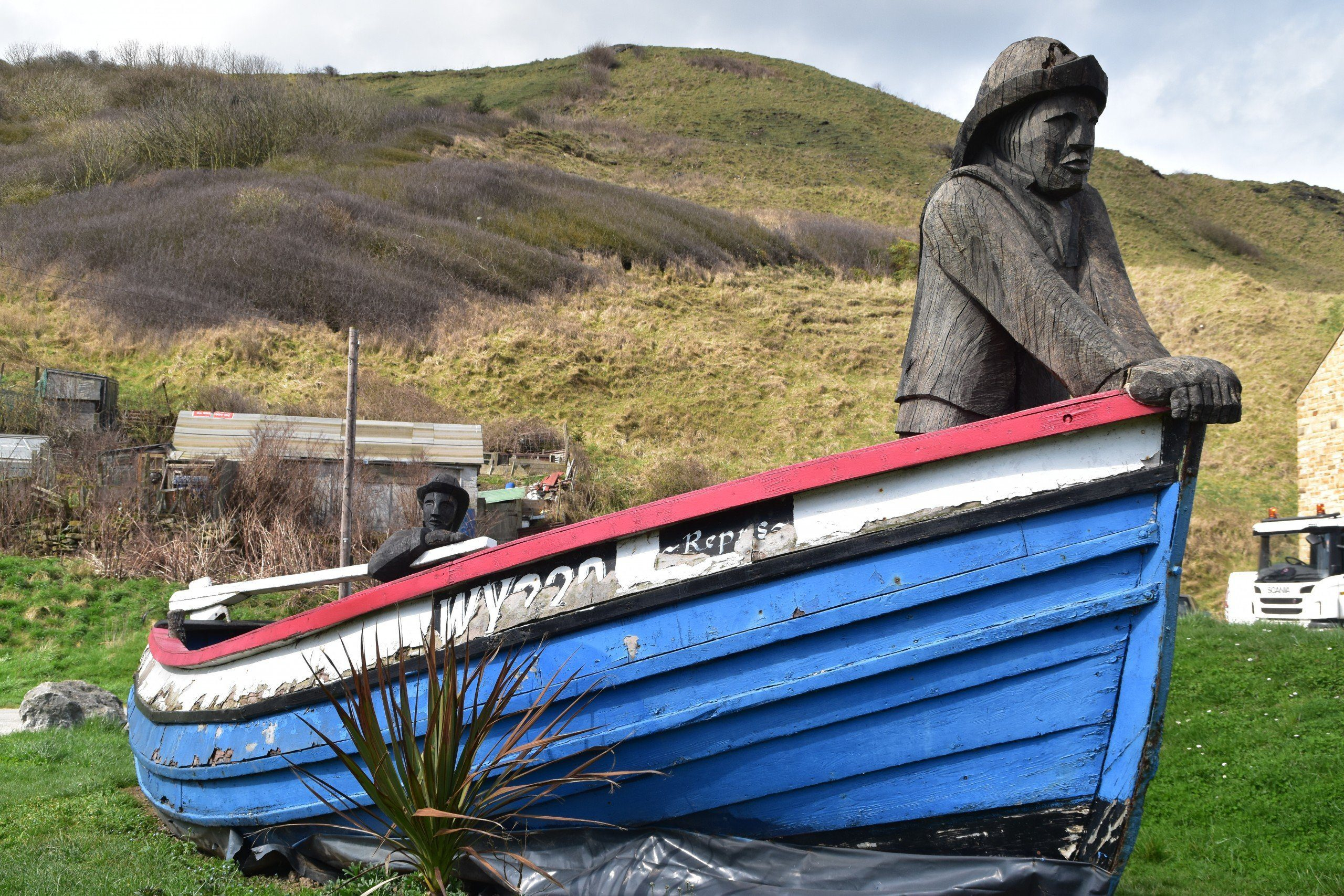 The Repus Sculpture at Skinningrove: sculptures of two wooden fishermen in what was a working fishing coble. One of the highlights of the latter half of the Cleveland Way