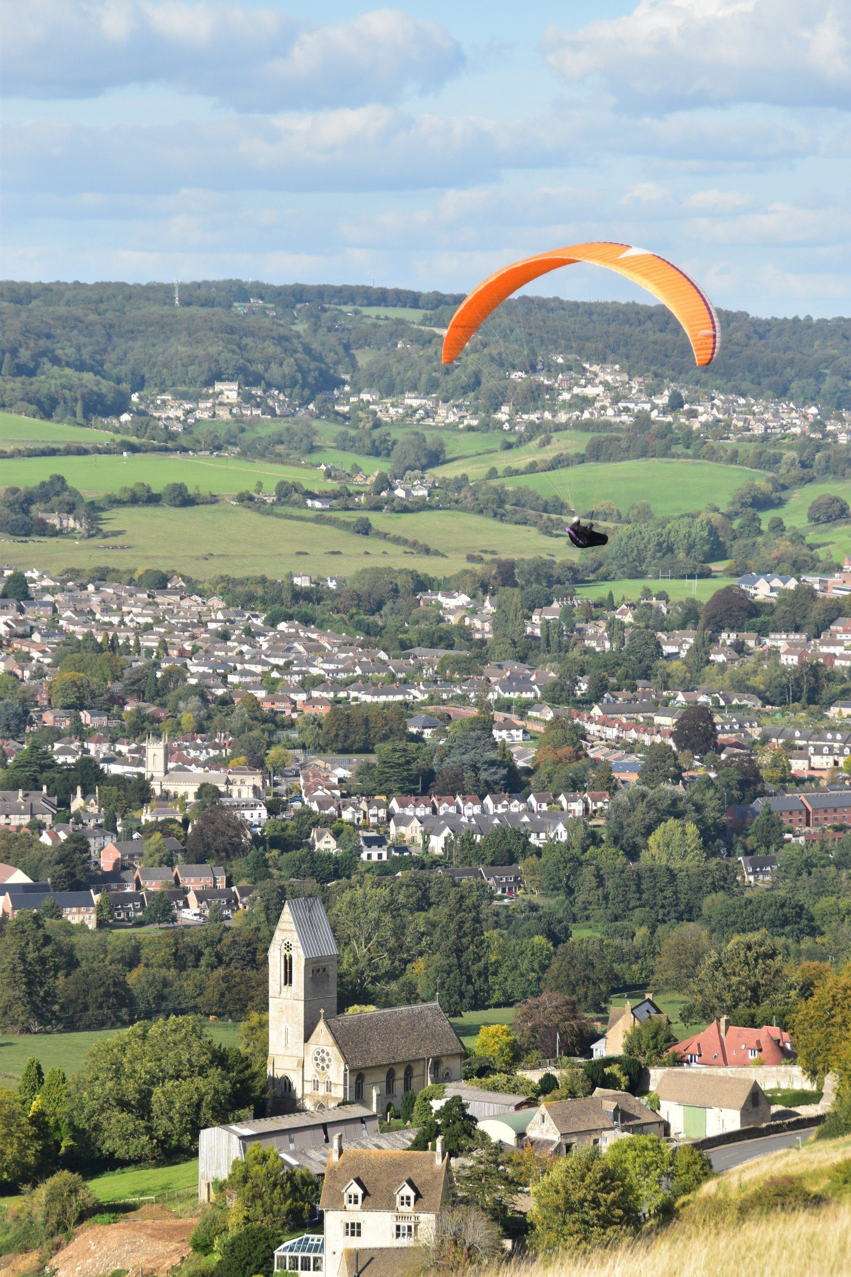 Paraglider flies high above Selsey