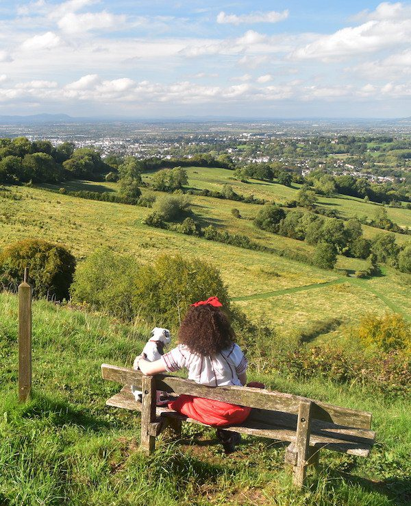 The Cotswold Way, sitting on a bench overlooking Cheltenham