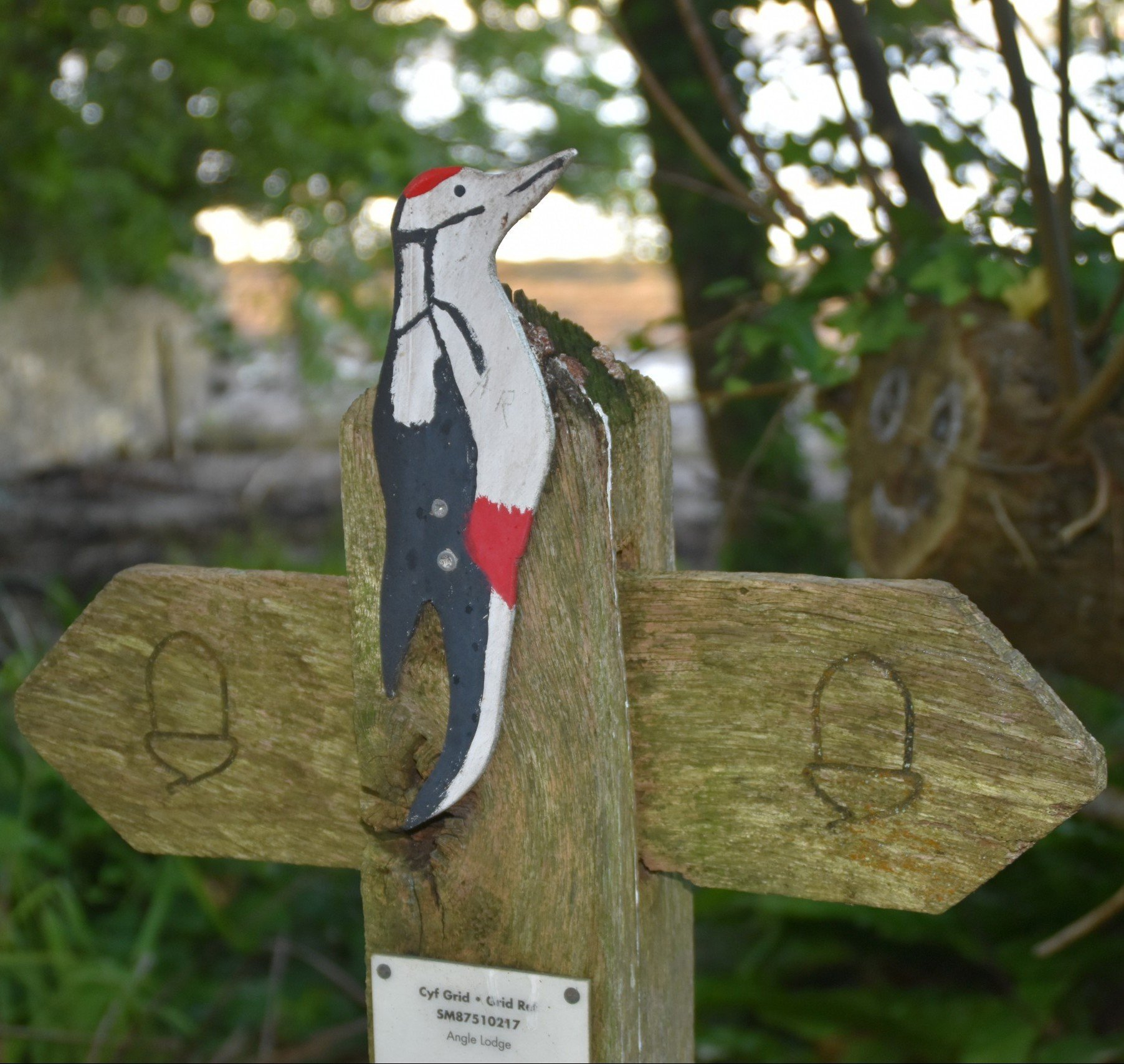 National Trail 'acorn' signpost with wooden cut-out of Woodpecker attached to the top