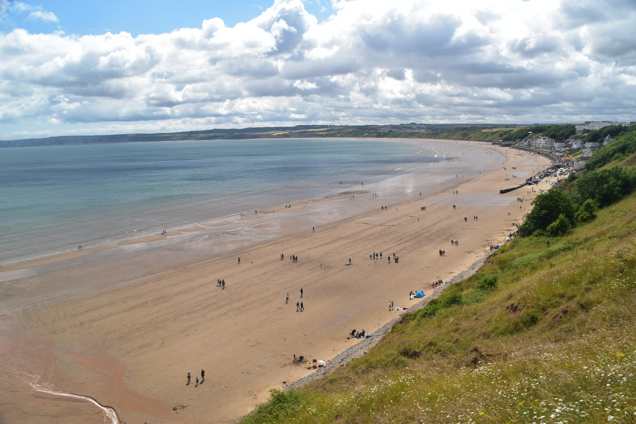 Yorkshire Wolds Way, view from Filey Brigg at start (or end) of the path
